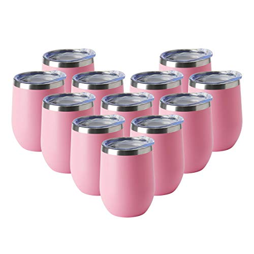 HASLE OUTFITTERS 12oz Wine Tumbler with Lid Stemless Wine Glasses Double Wall Vacuum Travel Mugs Stainless Steel Coffee Cup for Cold & Hot Drinks Wine Coffee Cocktails Beer 12 Pack Pink