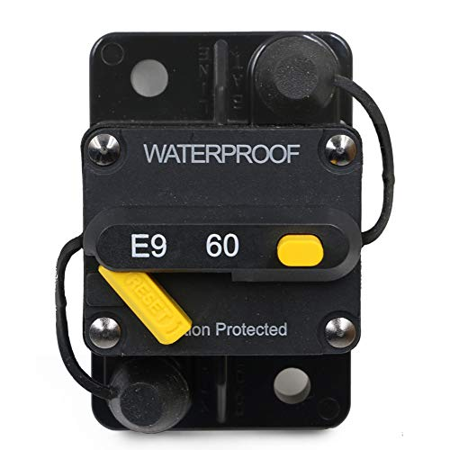 T Tocas 60 Amp Circuit Breaker amp breakers with Switch Manual Reset for Boat Marine RV Yacht Battery Trailer Bus Truck, 12V- 72V DC, Waterproof (60A)