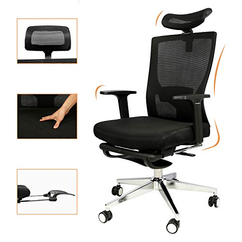 Office Chair Mesh, High Back Desk Chair with Armrests Footrest Headrest Height Adjustable Ergonomic Computer Chair 180°Reclining Lumbar Support Computer Chair BIFMA Certified