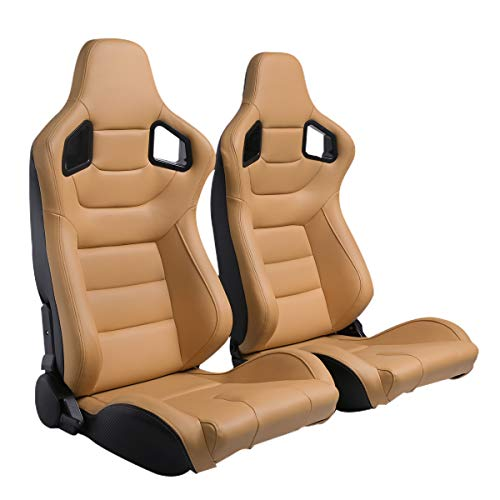 2PCS Universal PVC Leather Racing Seats, Reclinable Bucket Seat Come with Two Adjustable Slider, Mounting Brackets are NOT Include (Black & Beige/Tan Brown)