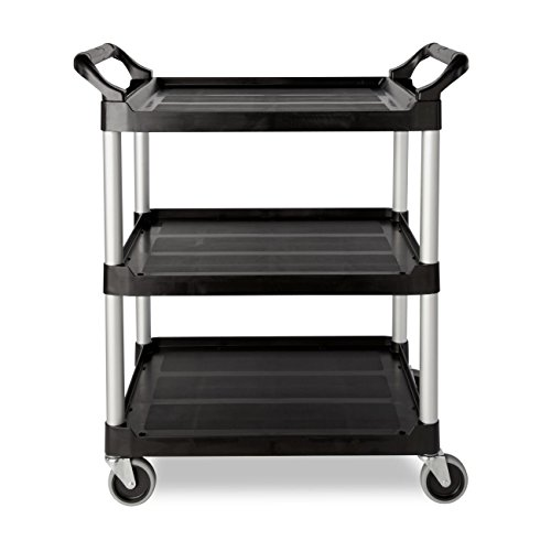 Rubbermaid Commercial Products (FG330400CLR) Heavy Duty 3-Shelf Rolling Service/Utility/Push Cart, 200 lbs. Capacity, Black, for Foodservice/Restaurant/Cleaning