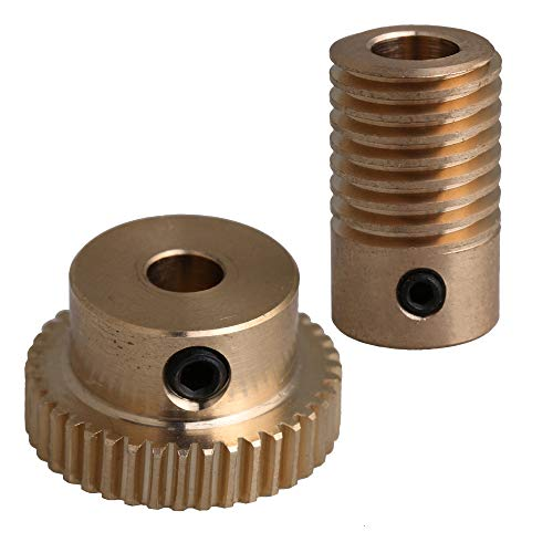 CNBTR 0.5 Modulus Brass Worm Gear Set with 5mm Hole 40 Teeth Turbine Reducer 6mm Hole Screw Reducer
