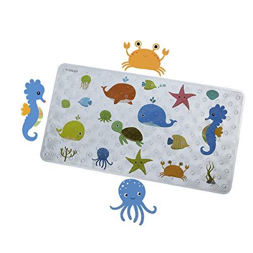 WARRAH Bath Mats for Shower,Anti-Slip Bath Mats for Tub for Kids,Non-Slip Baby Shower Mats,Machine Washable Kids Bathtub Mats,27.5' W x 15.7''L,Fits Any Size Bathtub (Sea Fish FHD-03)