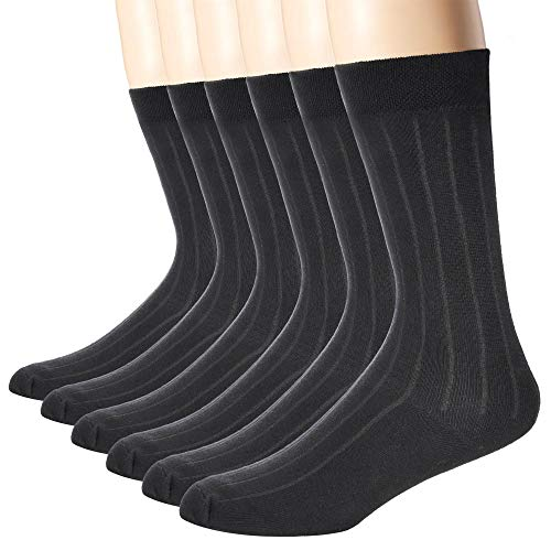 TTIZZY Men's Premium Black Cotton Dress Socks - 6/8 Pairs Classic Business and Casual Socks, Wicking, Durable Crew Socks (black 6)