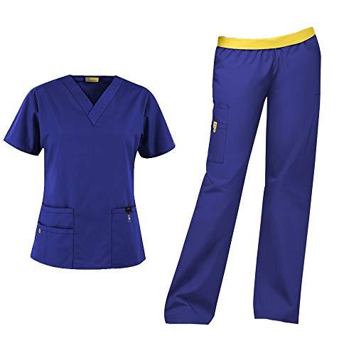 WonderWink Origins Women's Medical Uniforms Scrubs Set Bundle- 6016 Bravo V-Neck Scrub Top & 5016 Quebec Elastic Cargo Scrub Pants & MS Badge Reel (Galaxy Blue - Large - Large)