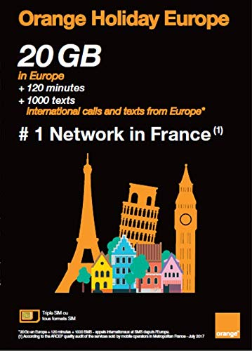Orange Holiday Europe  10GB Internet Data in 4G/LTE (+10GB Additional for SIMS Activated from April 4TH) + 120 mn + 1000 Texts in 30 Countries in Europe
