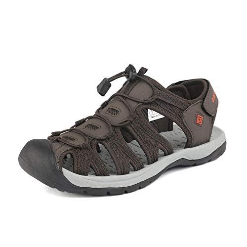 DREAM PAIRS Men's 160912-M-NEW Brown BLK Orange Adventurous Summer Outdoor Sandals Size 13 M US