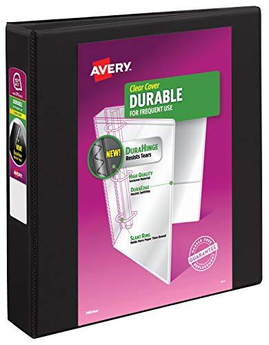 Avery 17021 Durable View Binder w/Slant Rings, 11 x 8 1/2, 1 1/2' Cap, Black