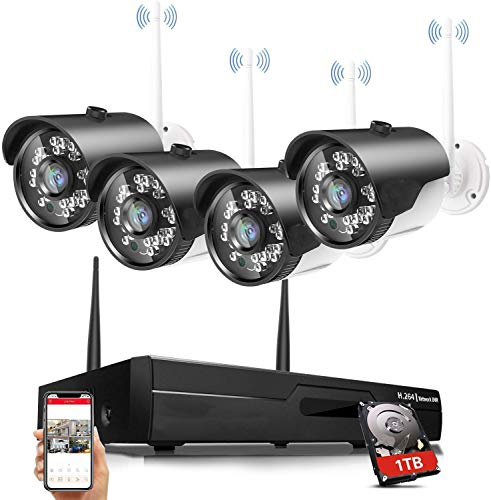 H.264 2MP Wireless Security Cameras System, 4CH 1080P HD NVR 4pcs 1080P Wireless Outdoor Indoor Waterproof Surveillance Cameras 100FT Night Vision (with 1TB HDD)