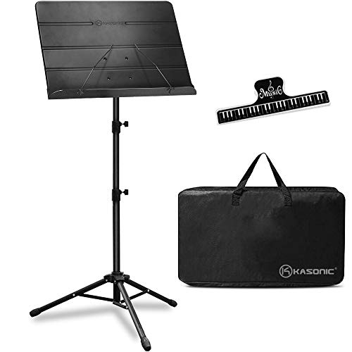Kasonic Professional Sheet Music Stand with Portable Carrying Bag and Music Sheet Clip Holder (Black)