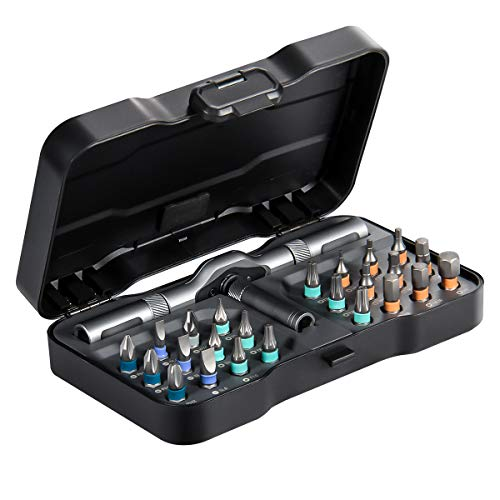 Magnetic Ratcheting Screwdriver Bit Set, HOMFUL 25 PCs 1/4' Ratchet Wrench Screwdriver Set with Phillips,Slotted,Hexagon and Torx- Changeable Handle- Repair Tool Kits for Laptop, PC, Furniture, DIY