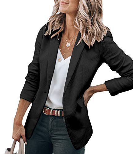Cicy Bell Womens Casual Jackets Open Front Long Sleeve Work Office Outerwear Coats Blazer (Black,Medium)