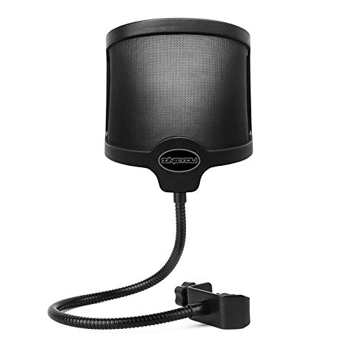 ZINGYOU PF-101 Microphone Pop Filter, Studio Recording Pop Shield, Mic Windscreen with Flexible Gooseneck and Extended Adjustable Clamp
