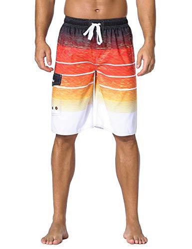 Nonwe Men's Swimwear Holiday Drawstring Quick Dry Striped Board Shorts Orange Striped 40