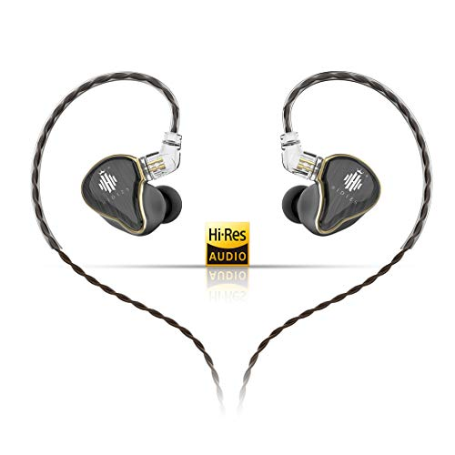 HIDIZS MS4 HiFi in-Ear Monitor Headphones, Hi-Res Audio IEM Earphones with Detachable Cable Four Driver Hybrid (1 Dynamic + 3 Knowles BA) Noise-Isolating Musician Headset (Black)