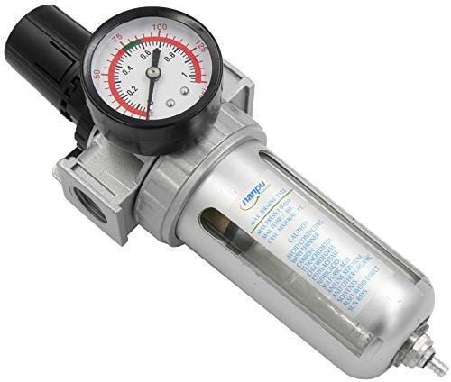 NANPU 3/8' NPT Compressed Air Filter Regulator Combo, Air Filter Pressure Regulator Gauge Kit Water Separator w/Pressure Gauge, 150PSI