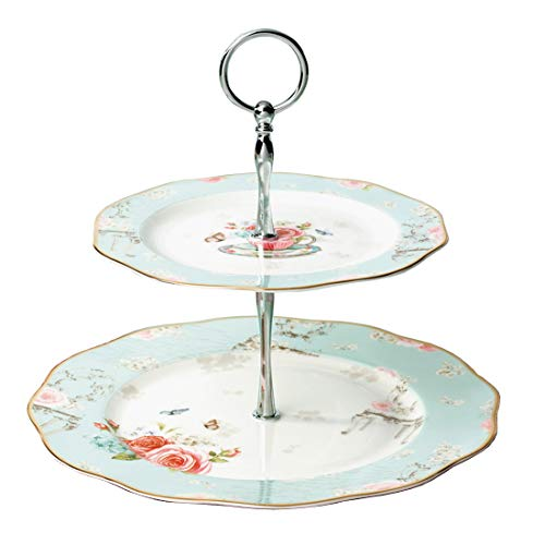 Linlins Elegant Bone China Rose Pattern 2-tier Cake Stand/Cupcake Stand/Pastry Serving Cake Stand In Gift Box (Rose B)