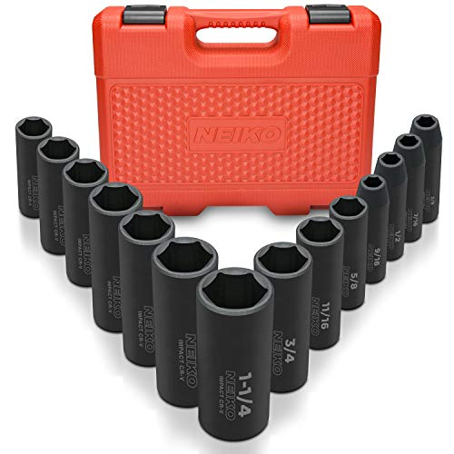 Neiko 02476A 1/2' Drive Deep Impact Socket Set, 14 Piece | 6 Point Standard SAE Sizes (3/8-Inch to 1-1/14') | Cr-V Steel