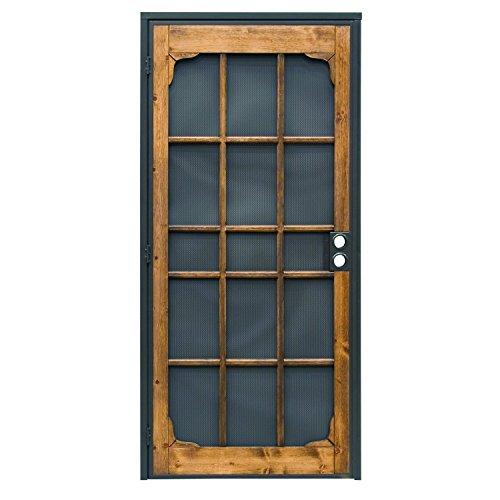 Prime-Line 3809BZ3068-I-WF Woodguard Steel Security Door  Traditional Screen Door Style with the Strength of a Steel Security Door  Steel and Wood Construction, Non-Handed, Bronze
