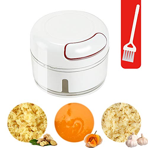 Ourokhome Mini Manual Garlic Chopper - the Latest Portable Ginger Grinder with Brush (170 ml, White)