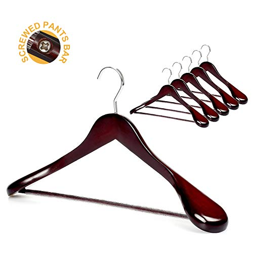 TOPIA HANGER Set of 6 Luxury Mahogany Wooden Coat Hangers, Premium Wood Suit Hangers, Glossy Finish with Extra-Wide Shoulder, Thicker Chrome Hooks & Anti-Slip Bar CT02M