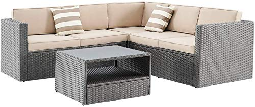SOLAURA Outdoor Patio Furniture 4-Piece(5 Seats) Furniture Sectional Sofa Set All Weather Conversation Set Warm Grey Wicker with Brown Cushions & Sophisticated Glass Coffee Table