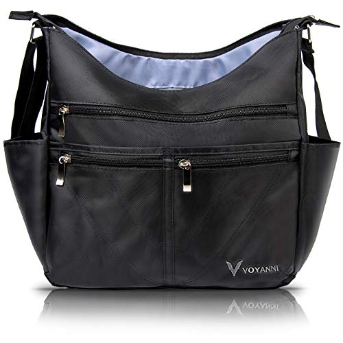 Voyanni Large Crossbody Bags for Women - Anti Theft Travel Purse Multipocket Nylon Shoulder Bag Waterproof Purses and Handbags Womens Cross Body (Black)