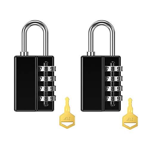 [New Version] KeeKit Combination Padlock, 4 Digit Resettable Combo Lock with Keys, Waterproof Gate Lock for Locker, Gym, Fence, Case, School & Employee Locker, Toolbox – 2 Pack, Black