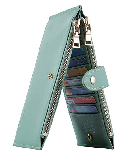 Travelambo Womens Walllet RFID Blocking Bifold Multi Card Case Wallet with Zipper Pocket Crosshatch (Green Light 7247)