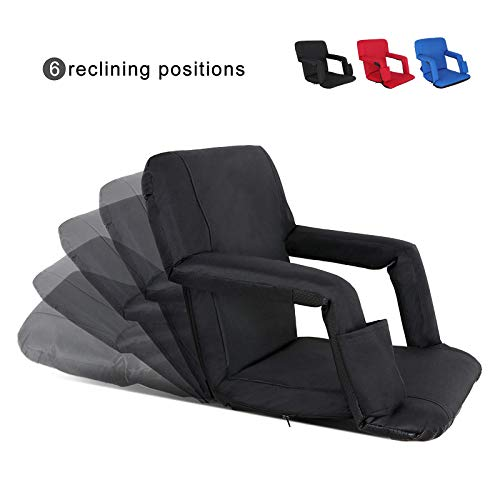 Portable Stadium Seat Chair Reclining Seat for Bench Bleachers W/Padded Cushion Shoulder Straps - 6 Reclining Positions - Water Resistant (Black)