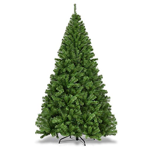 Goplus Christmas Tree Artificial Premium Hinged Spruce Full Tree with Solid Metal Stand (7.5 feet, Classic Series)