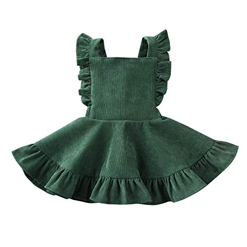 MERSARIPHY Toddler Baby Infant Tutu Sleeveless Vest Dress Backless Cute Romper Newborn Kid Ruffle Skirt, Ages for 6M-5T (Green, 4-5 T)