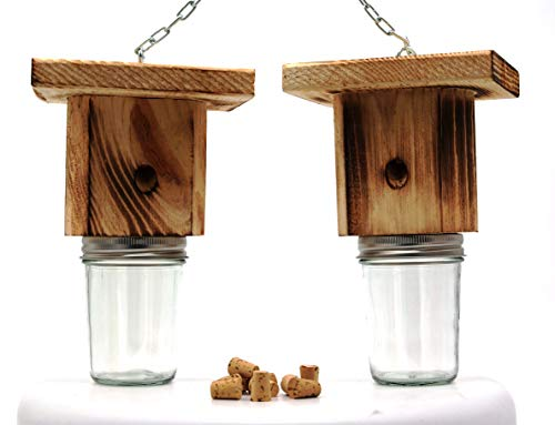 Mac's Best Brothers Rustic Wood Carpenter Bee Trap, Set of 2