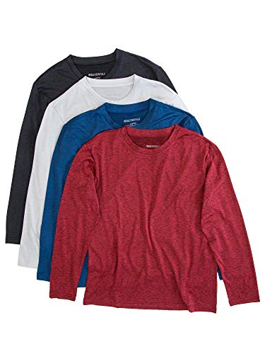 4 Pack:Boys Girls Youth Teen Active Wear Athletic Quick Dry-Fit Moisture Wicking Performance Basketball Gym Essentials Sport Long Sleeve Crew Undershirt Tee Top Top-Set 3, Large