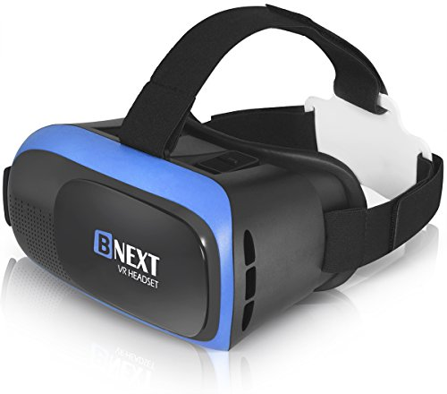 VR Headset Compatible with iPhone & Android Phone - Universal Virtual Reality Goggles - Play Your Best Mobile Games 360 Movies with Soft & Comfortable New 3D VR Glasses | Blue | w/Eye Protection