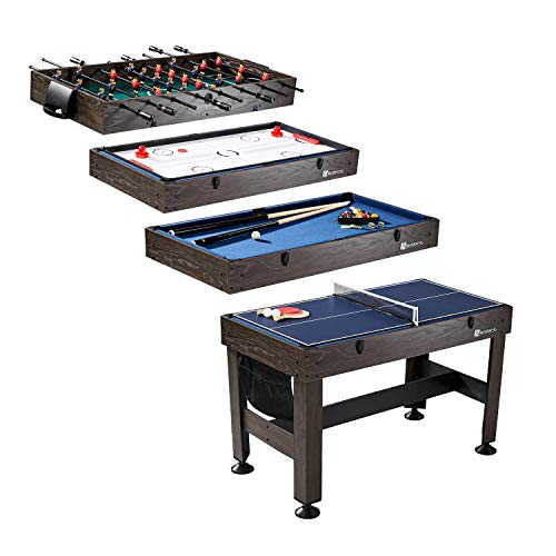 """MD Sports Table Tennis, Slide Hockey, Foosball, Billiards, 54"""" 4-in-1 Combination Game Set with side Lock Clips - Quick Set-Up, Interchangeable, Fully Equipped, Model Number: CBF054_058M"""