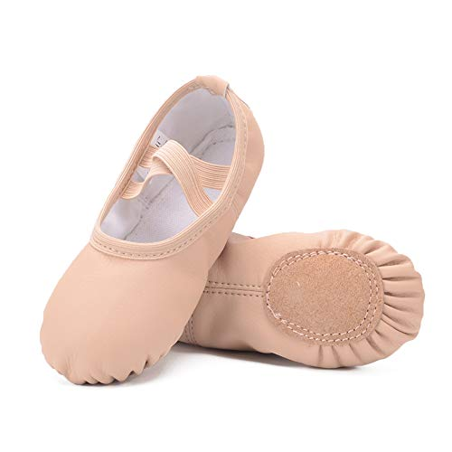 Ruqiji Leather Ballet Shoes for Girls/Toddlers/Kids/Women, Full Sole Leather Ballet Slippers/Dance Shoes Nude