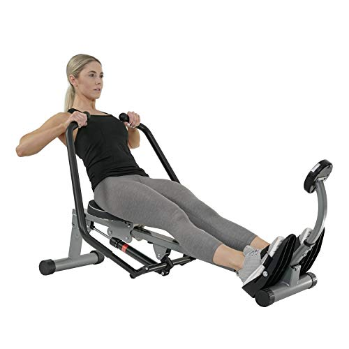 Sunny Health & Fitness SF-RW1410 Rowing Machine Rower with Full Motion Arms and LCD Monitor