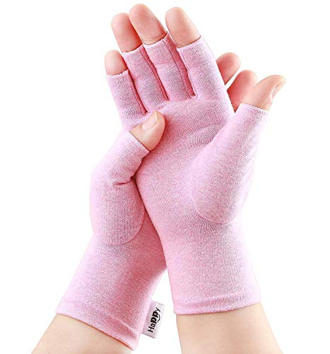 2 Pairs Compression Gloves Arthritis Gloves, Fingerless Gloves for Women & Men,Gloves for Rheumatoid & Osteoarthritis - Joint Pain and Carpel Tunnel Relief,Computer Typing (Pink, Medium-2 Pairs)