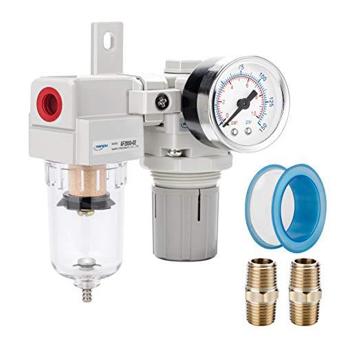 NANPU 1/4' NPT Compressed Air Filter Regulator Combo Piggyback, 5 Micron Element, Poly Bowl, Semi-Auto Drain, Bracket, Gauge (ARF2000)