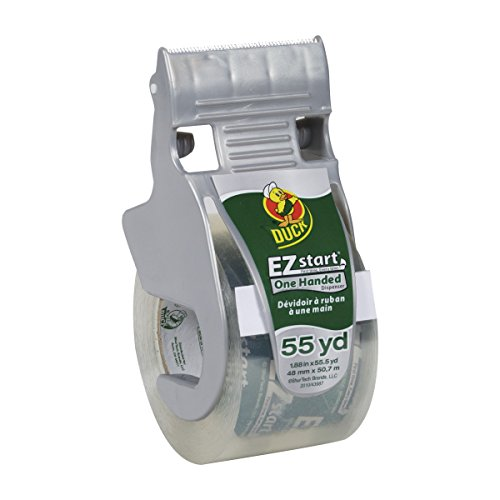 Duck EZ Start Packing Tape With One-Handed Dispenser, 1.88 Inch x 55.5 Yard, Clear, 1 Roll (1259457)