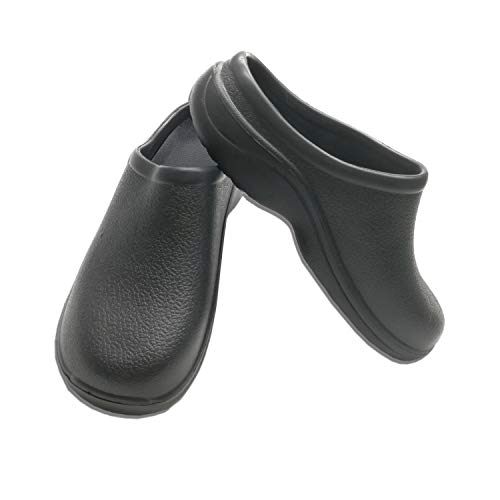 Women Nursing Shoes Work Clogs - Jeanish Rubber Strapless Clogs for Women Water and Stain Resistant Lightweight 313 (Black, 10 M US)