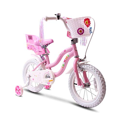 COEWSKE Kid's Bike Steel Frame Children Bicycle Little Princess Style 14-16 Inch with Training Wheel(16' Pink)