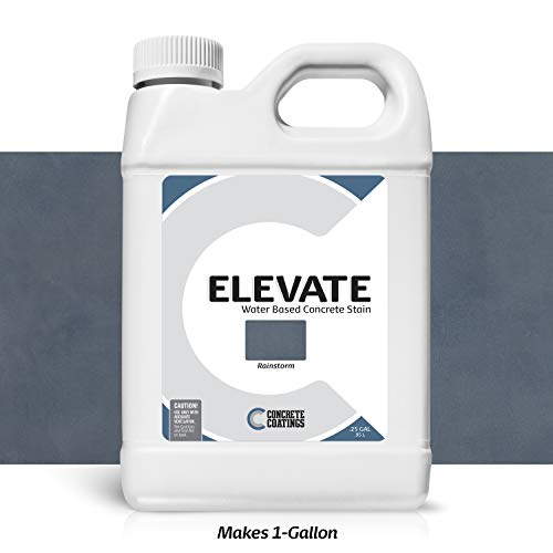 Elevate Concentrate Water Based Concrete Stain, Semi-Transparent Organic Concrete Colorant, for Concrete and Cement, Makes 1 Gallon (200 sq ft), Rainstorm