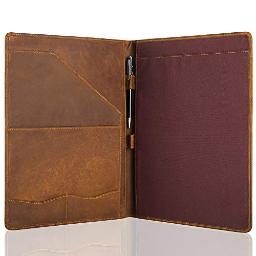 Jack&Chris Leather Portfolio, A4 Document Folder Legal Pad Padfolio, Professional Writing Letter Notepad Clipboard Sleeve Organizer, Resume Folio Binder for Men&Women,JC1823 (Russet Brown)