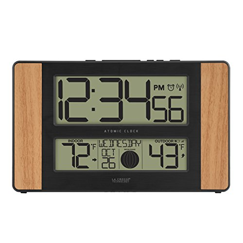 La Crosse Technology Atomic Digital Clock, Pack of 1, Oak