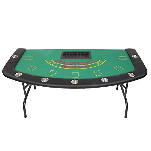 PEXMOR 7 Player Folding Play Poker Table w/Cup Holder, 72'' Foldable Blackjack Table with Chip & Cup Holder for Playing Cards, Texas Casino Leisure Game