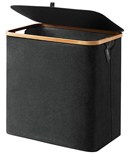 YOUDENOVA Laundry Basket with Lid Black, 90L Bamboo Dirty Clothes Hamper with Handle, Waterproof Collapsible Laundry Hamper Storage for Bedroom, Bathroom, Living Room Toys Blanket Books Basket