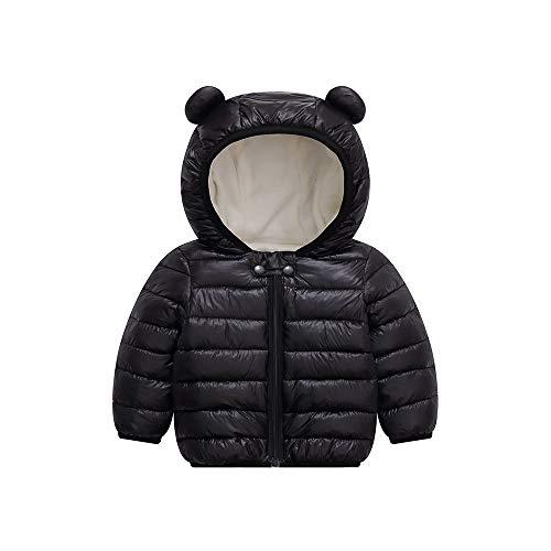 Unisex Little Boys Girls clothes Down Jacket Hoodie Coat Winter Warm Outerwear (Black, 18-24 Months)