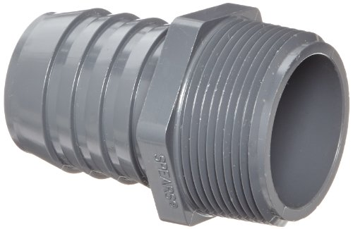 Spears 1436 Series PVC Tube Fitting, Adapter, Schedule 40, Gray, 1-1/2' Barbed x NPT Male